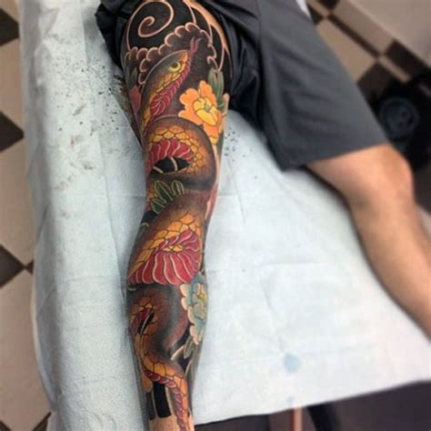 japanese tattoo knee leg tattoos for men