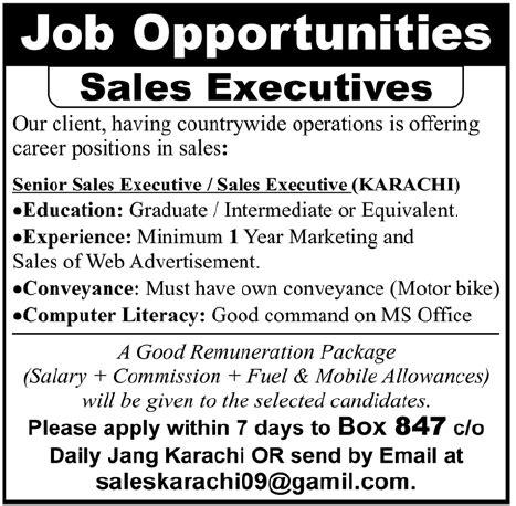 advertised jobs on newspapers dawn jang express sales