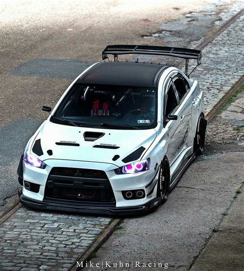 mitsubishi evo custom this evo x white custom headlights cars cars