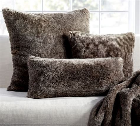 Fur Pillow Cover by Faux Fur Pillow Cover Chinchilla Pottery Barn