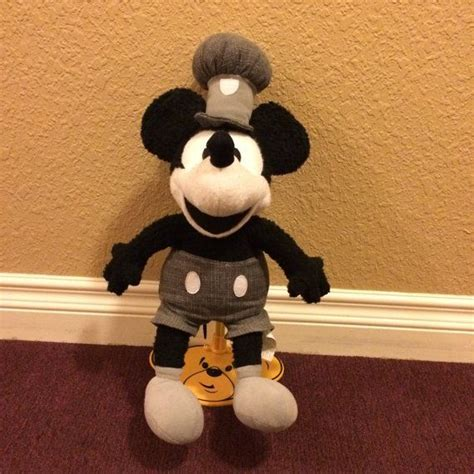 steam boat willy plush disney steamboat willie mickey mouse black white and gray