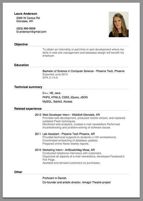how to write resume for applying internship