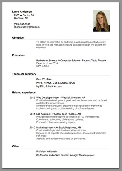 sle of a beginner s cv resume cv cover letter headache