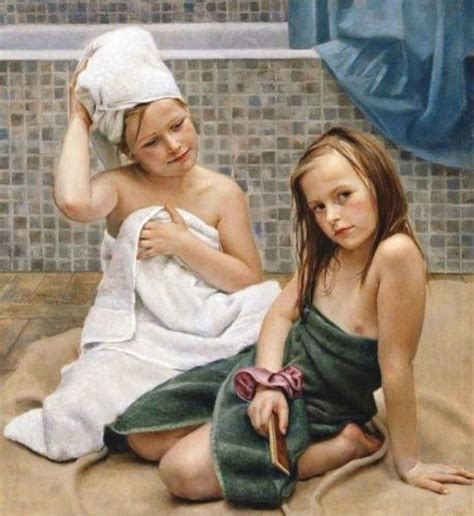 pimpandhost natural angels hand painted oil painting just take a shower little girl