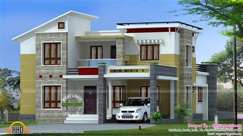 2200 square slanting roof mix home kerala home