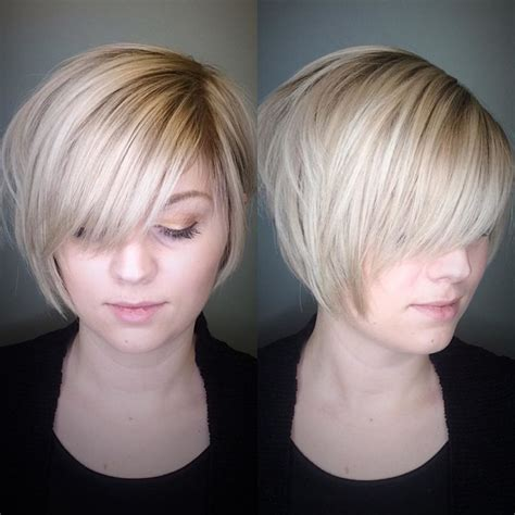 how to cut stack bob with side swept bangs women s polished blonde stacked bob with side swept bangs