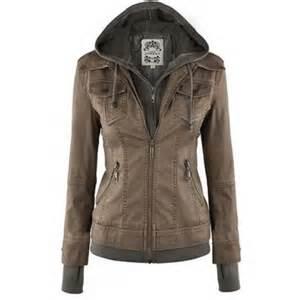 Trendy hooded long sleeve pocket design faux twinset women s jacket
