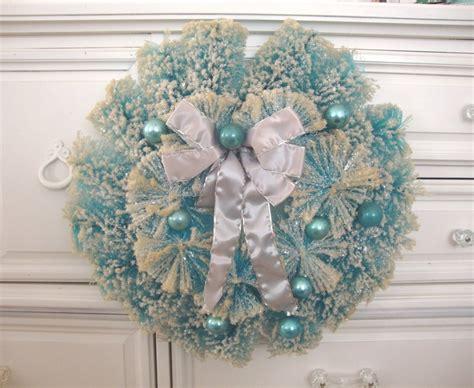 vintage bottle brush wreath aqua light blue
