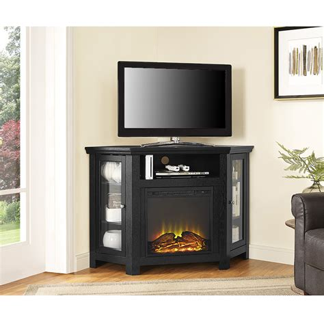 tv stand w fireplace 48 quot corner fireplace tv stand black