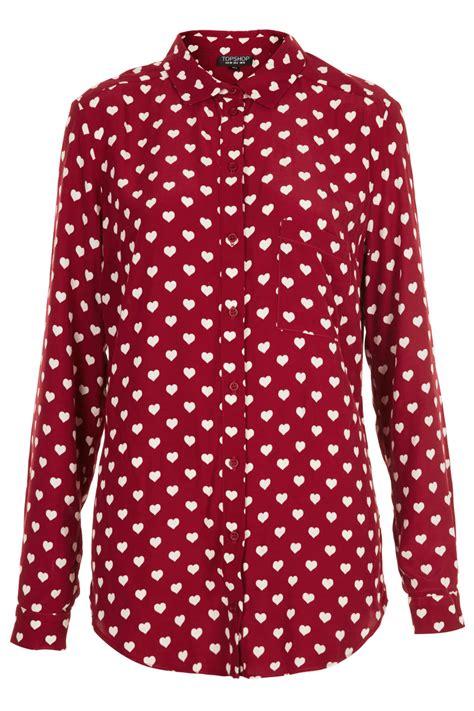 Micci Fashion Blouse Hughes Pink topshop print blouse collar blouses
