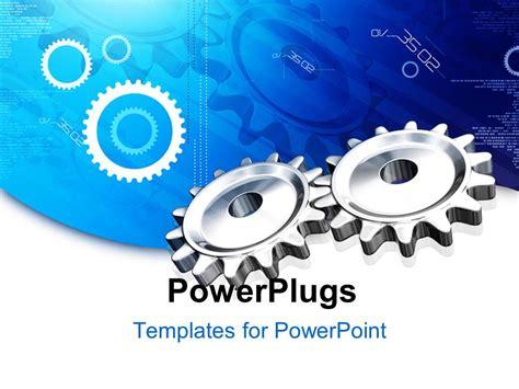Powerpoint Template Render Gear On Blue Digital Background 19810 Mechanical Ppt Templates