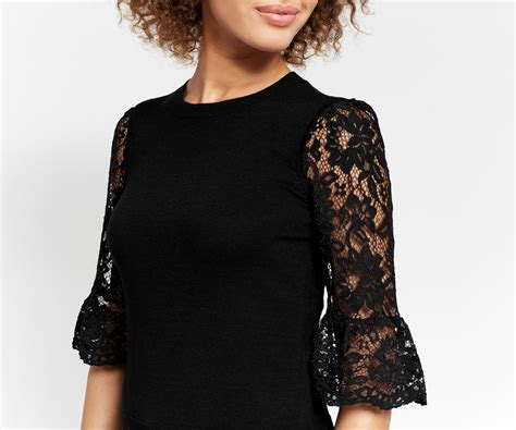 Sleeved Lace Top lace fluted sleeve top oasis
