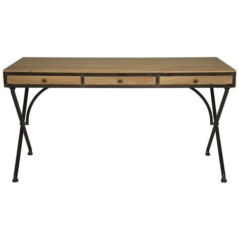 benny rustic industrial wood metal desk