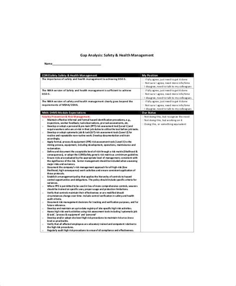 safety analysis report template safety gap analysis template 6 free pdf documents