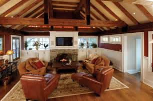 Horse Barn Fire Family Room Addition With Rustic Beams And Vaulted Ceiling