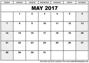 Printable Calendar Template Pdf by May 2017 Calendar Printable Calendar Templates