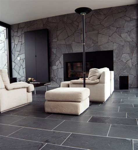 Tiled Living Room Floor Ideas Black Limestone Floor Tiles Ideas For Contemporary Living Room Living Room Tile