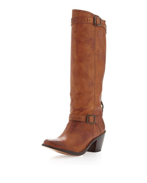 boot and saddle frye distressed boot saddle in brown 6 lyst