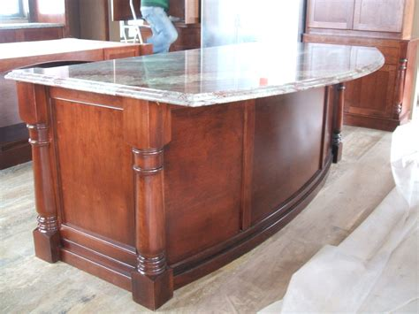 Custom Kitchen Island Design Bowfront Cherry Turmed Legs Posts Island Historic