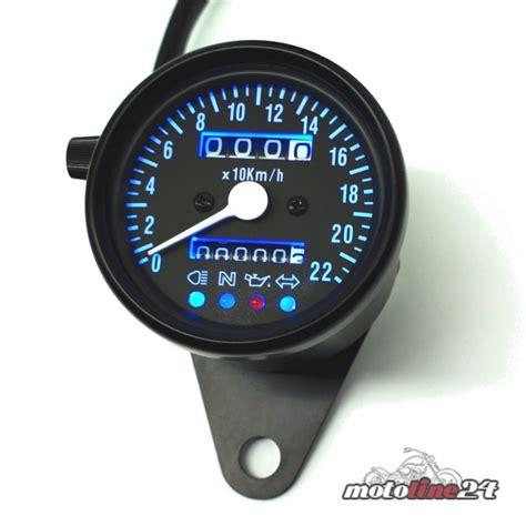 Motorrad Kontrollleuchten mini tacho tachometer schwarz mit kontrollleuchten