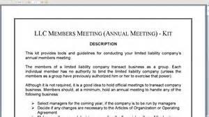Llc Annual Report Template llc members annual meeting kit youtube