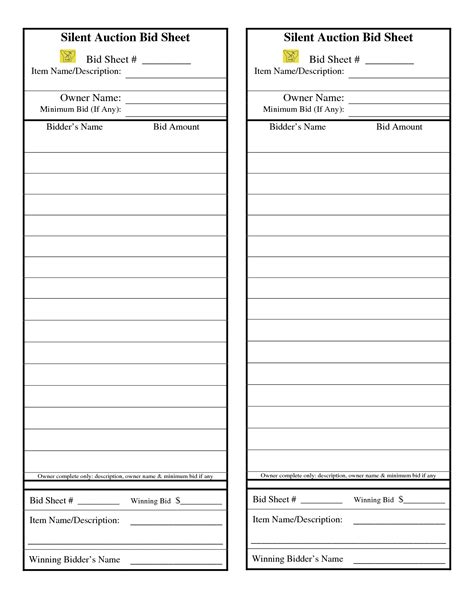 auction bid card templates silent auction bid sheet search are we there
