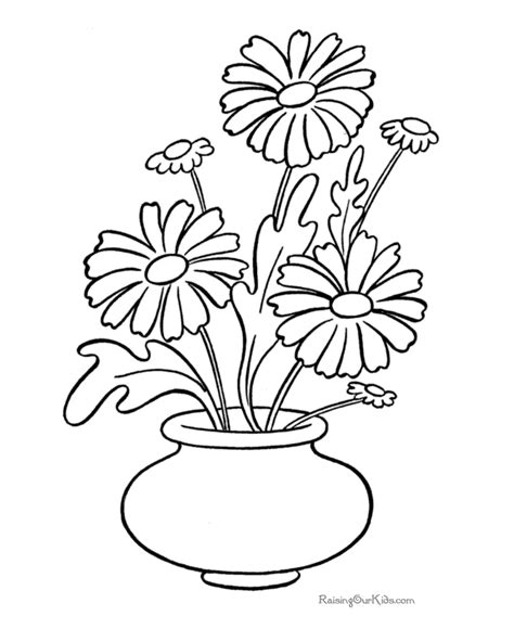 free coloring pages daisy flower free coloring pages of flower pot out line