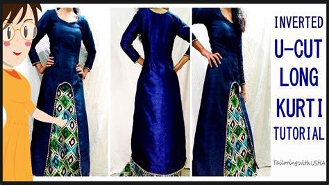 design dress cutting and stitching designer inverted u cut long kurti cutting and stitching