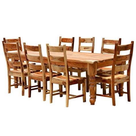 Farmhouse Dining Table Set Rustic Solid Wood Farmhouse Dining Room Table Chair Set