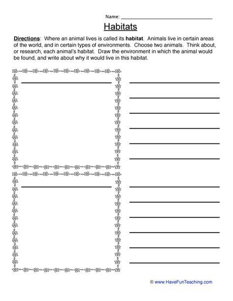 Habitats Worksheets 2nd Grade by Animal Habitat Worksheets For 2nd Grade Mmosguides