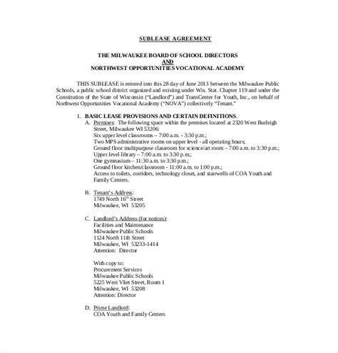 terms of agreement contract template 10 sublease agreement templates free sle exle
