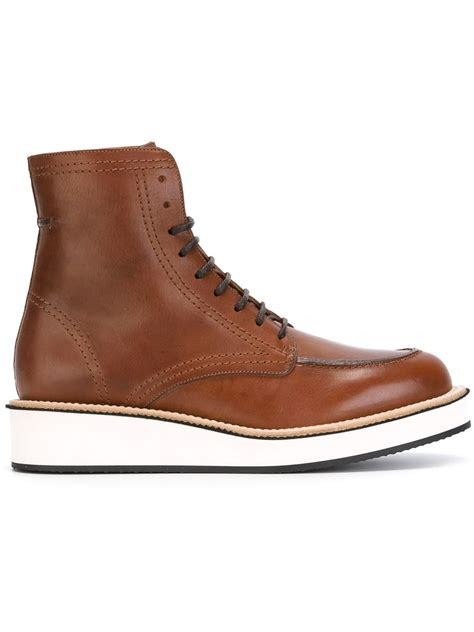 givenchy lace up boots in brown for lyst