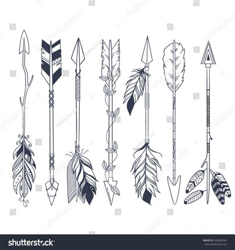 native american arrow tattoo designs arrow set in american indian style vector