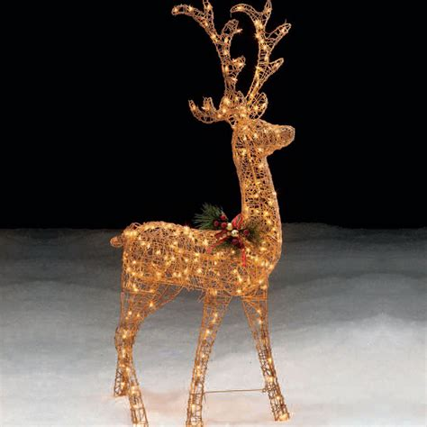 Trim A Home 174 60in Lighted Gold Standing Deer Christmas Outdoor Deer With Lights