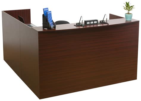 L Shaped Reception Desk 4 Mahogany Drawers L Shaped Reception Desk