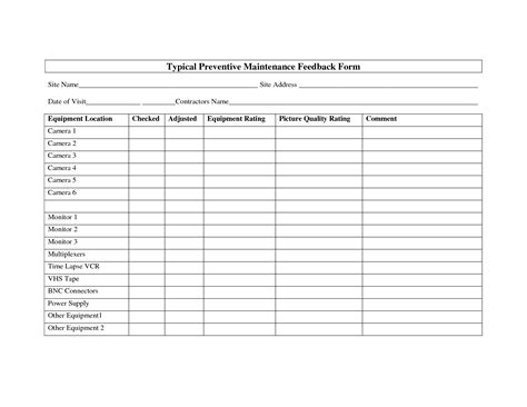 preventive maintenance form template best photos of preventive maintenance log template