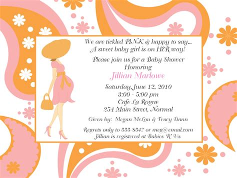 Baby Shower Invitation Wording by Baby Mod Flower Paisley Baby Shower Invitations