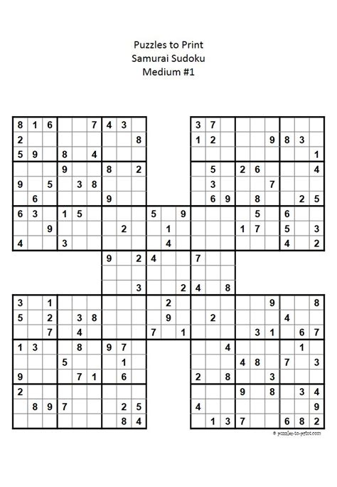 printable sudoku sheets pdf ready to print pdf file for a medium difficulty samurai