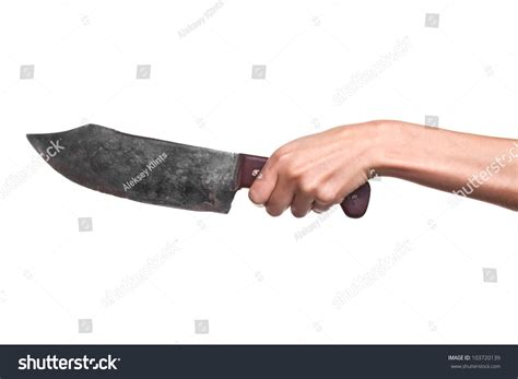photo of knife photo of holding big butcher knife on white