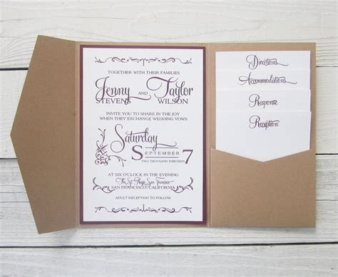pocket wedding invitations with inserts rustic kraft wedding invitation pocket country twine