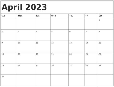 april 2023 calendar template