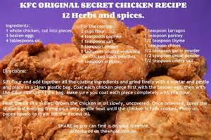 kfc original secret chicken recipe meats fish