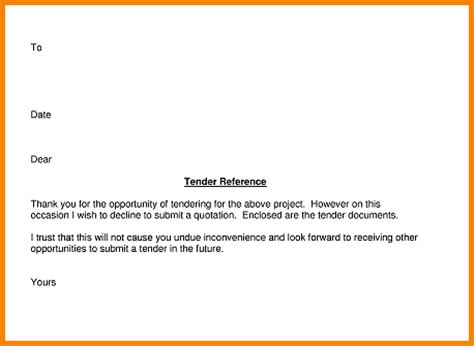 Decline Letter For Tender 11 Exle Of A Tender Letter Quote Templates