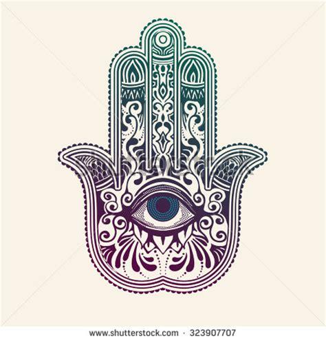 tattoo hand van fatima hamsa or hand of fatima good luck charm vector