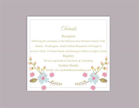 wedding information card template diy wedding details card template editable word file
