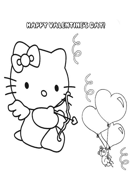 hello kitty balloons coloring pages hello kitty valentine balloon coloring page h m