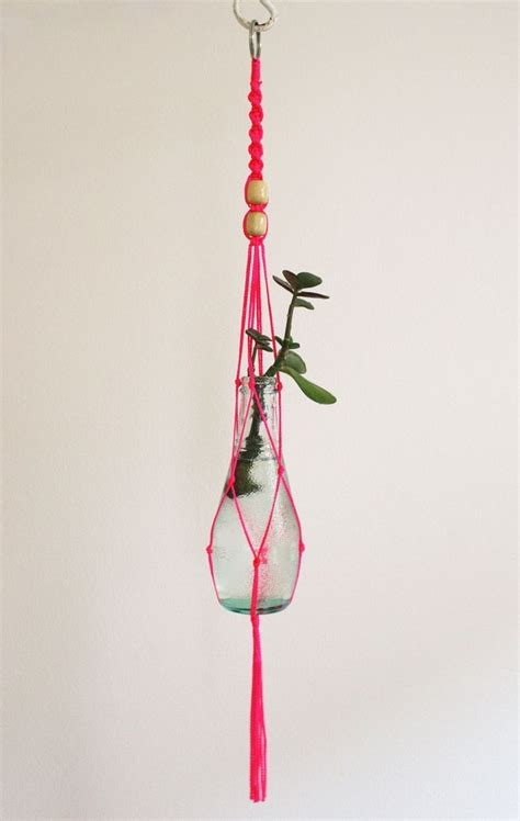Small Macrame Plant Hanger - small macrame plant hanger neon pink
