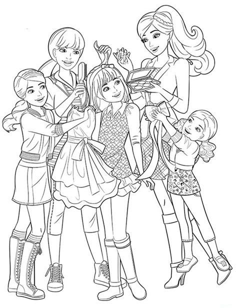 coloring pages of barbie and her friends barbie and friends free colouring pages