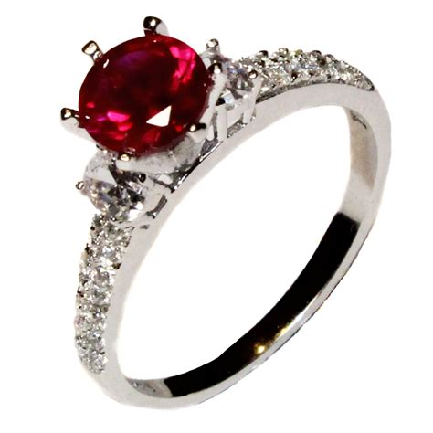 solitaire ruby promise ring cubic zirconia