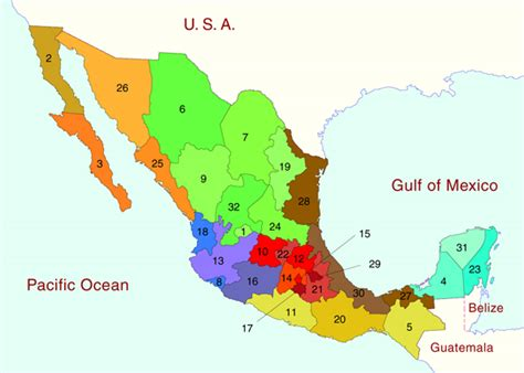 mexico states map map of mexico and mexican states